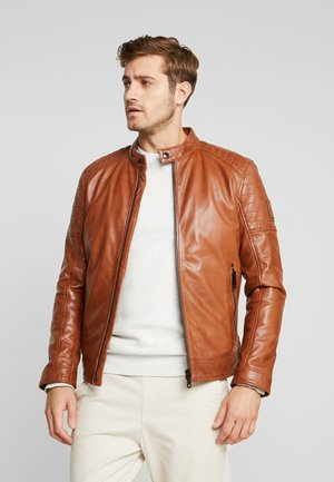 DERRY - Leather jacket - brown