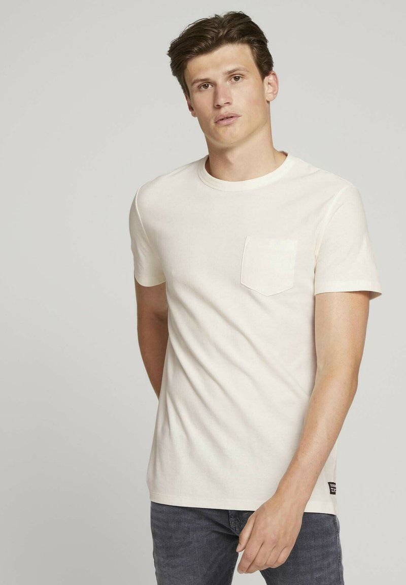 TOM TAILOR DENIM - Basic T-shirt - soft light beige