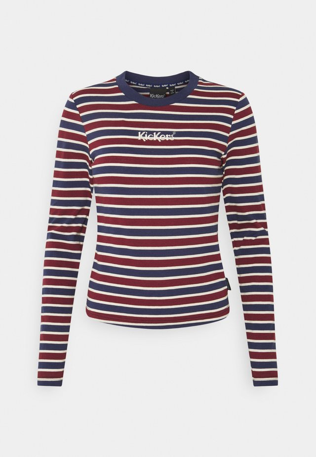 LONG SLEEVE FITTED RINGER - Langærmede T-shirts - burg / navy / beige