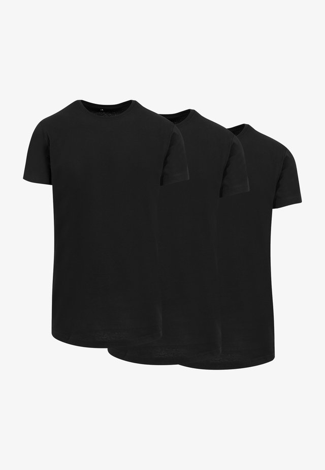 3 PACK - T-shirt basic - blk/h.grey/wht