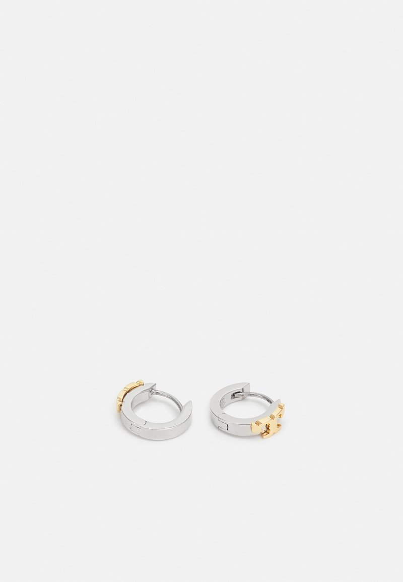 Tory Burch - SERIF HUGGIE HOOP EARRING - Orecchini - silver-coloured