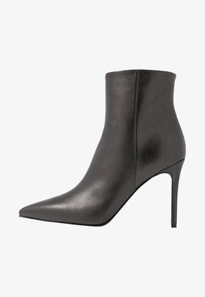 High heeled ankle boots - dark silver