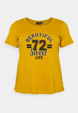 STRAIGHT TEE - Print T-shirt - havest gold