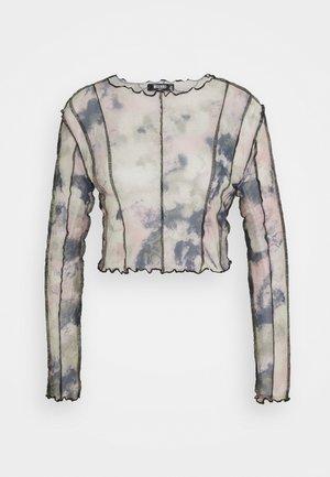 CONTRAST STITCH MESH PRINTED CROP TOP - Maglietta a manica lunga - multi
