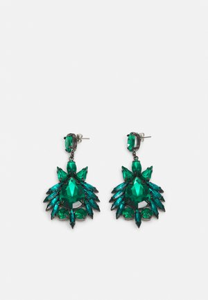 PCLAYA EARRINGS - Ohrringe - dark silver colour/green