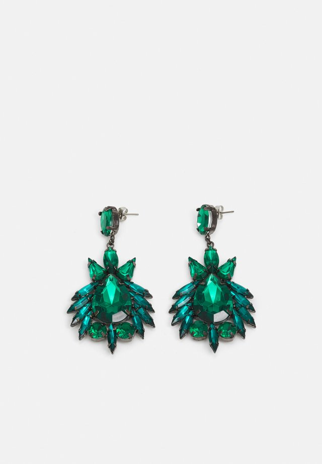 PCLAYA EARRINGS - Boucles d'oreilles - dark silver colour/green