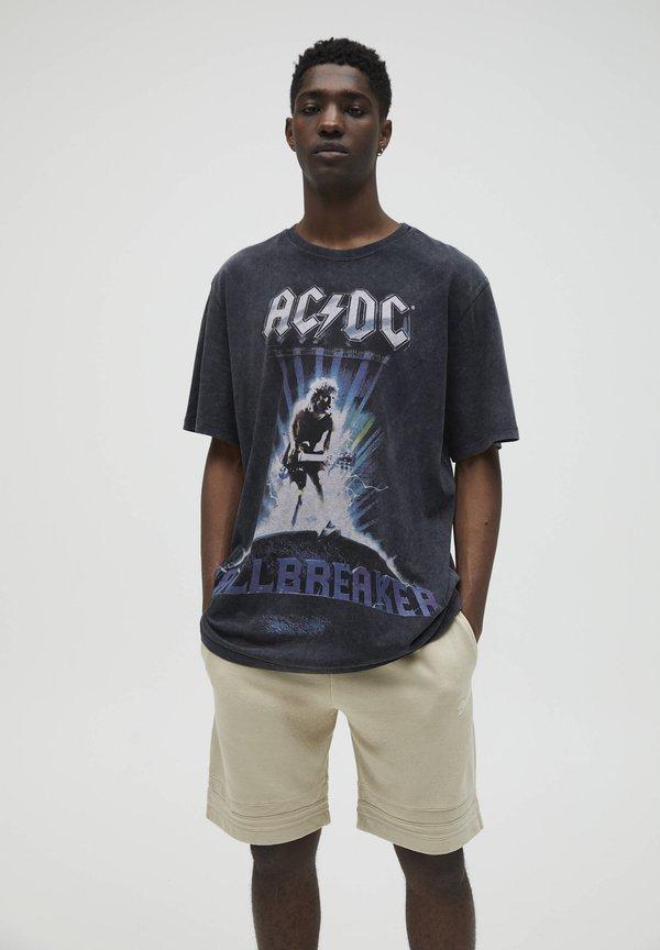 PULL&BEAR T-shirt z nadrukiem - black/czarny Odzież Męska QTNZ