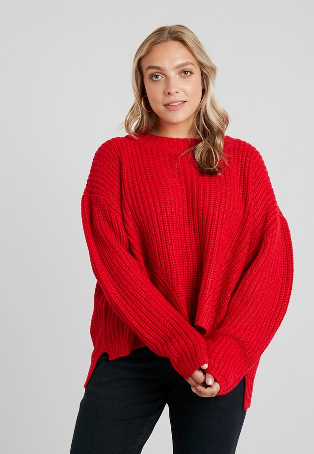 LADIES WIDE OVERSIZE - Sweter - fire red