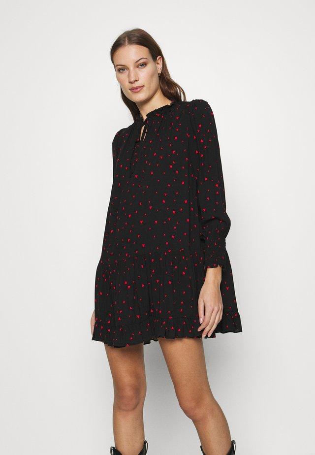 HEART PRINT SMOCK MINI DRESS - Day dress - black