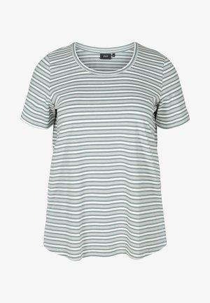 Print T-shirt - balsam green w egret