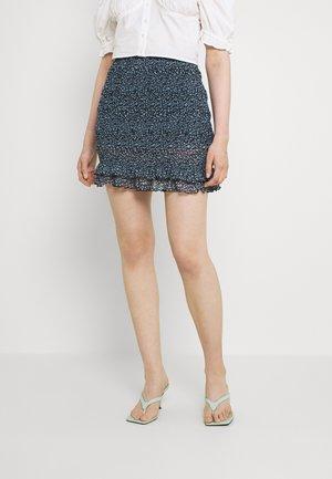 Smocking mini mesh skirt - A-linjekjol - black/light blue