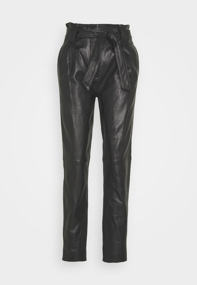 SAGO TROUSERS - Nahkahousut - black