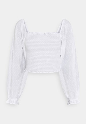 DOBBY SMOCKED BLOUSE - Blouse - white