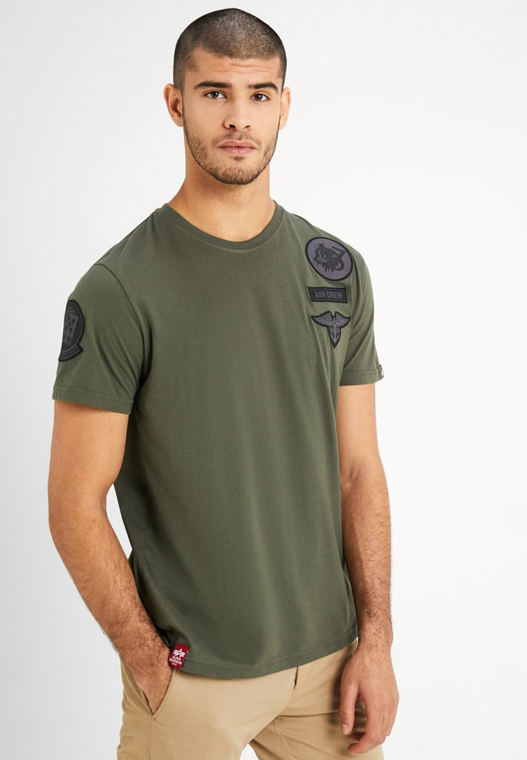 Alpha Industries - AIR CREW - Print T-shirt - dark oliv