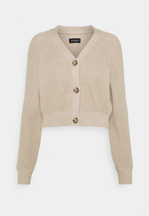 CROPPED CARDIGAN - Neuletakki - tan