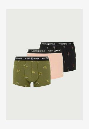 3-PACK - Pants - black, olive, salmon