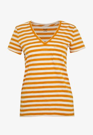 WHISPER VNECK POCKET TEE STRIPE - Print T-shirt - burnished caramel hojicha