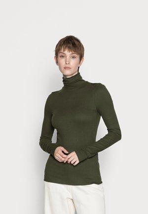 SLIM MOCK NECK - Long sleeved top - bronze green