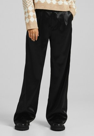 HOSE IN SATINOPTIK - Trousers - black