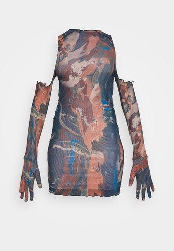 RUCHED SHIRT DRESS FAIRY STATUE PRINT - Tubino - multi