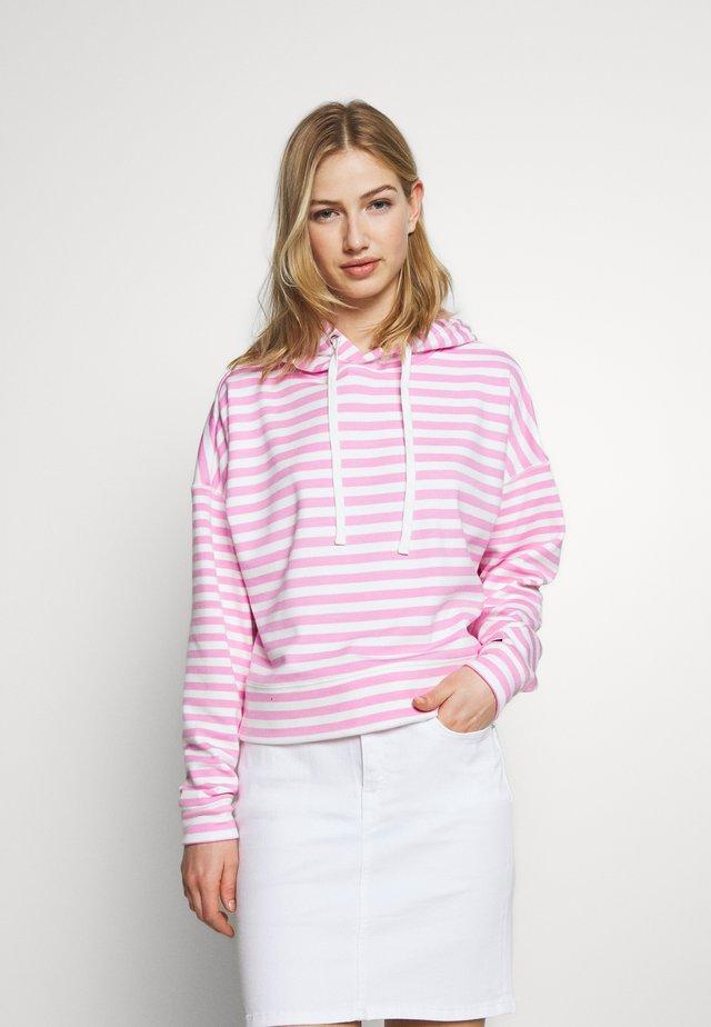 STRIPE HOODIE - Huppari - pink daisy/white