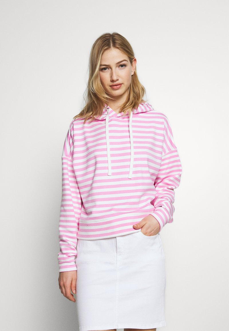 Tommy Jeans - STRIPE HOODIE - Sweat à capuche - pink daisy/white