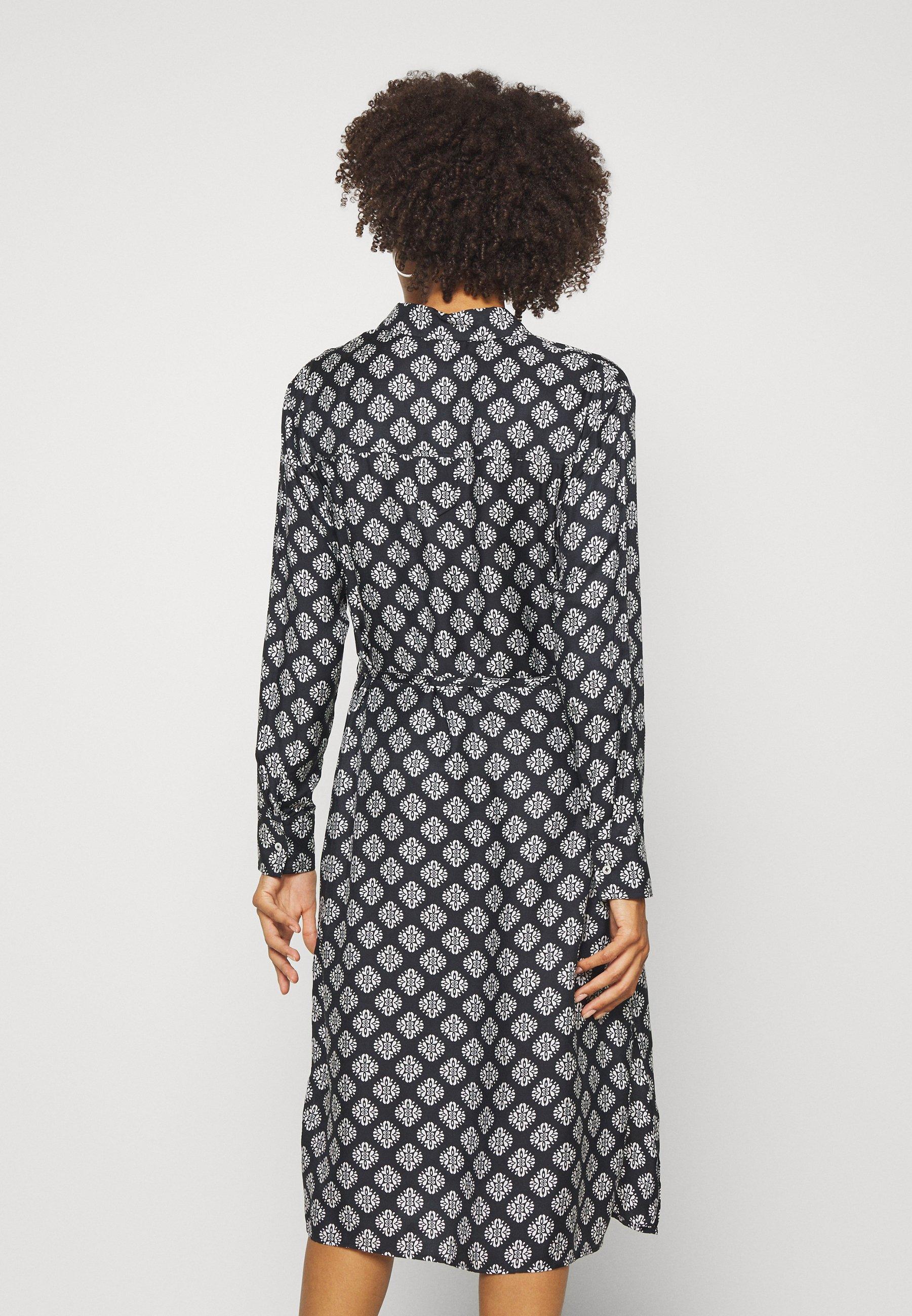 Marc O'Polo DRESS STYLE BREAST POCKET SMALL BELT PRINTED Blusenkleid black/schwarz