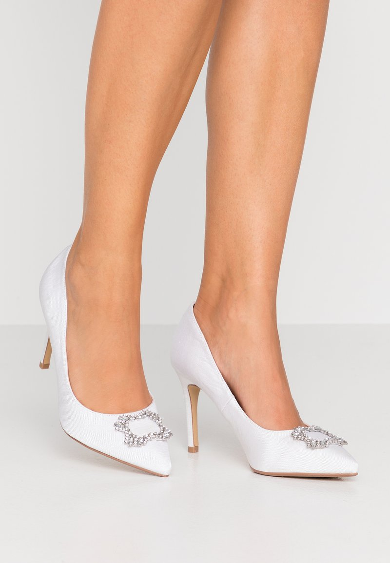 Dorothy Perkins Wide Fit - WIDE FIT SQUARE JEWEL COURT SHOE - High heels - white