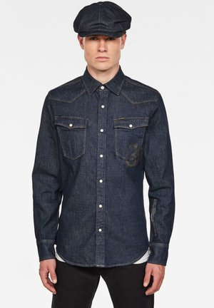 3301  SLIM SHIRT L\S RINSED MEN - Vapaa-ajan kauluspaita - blue denim