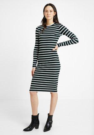 Shift dress - black/white/green