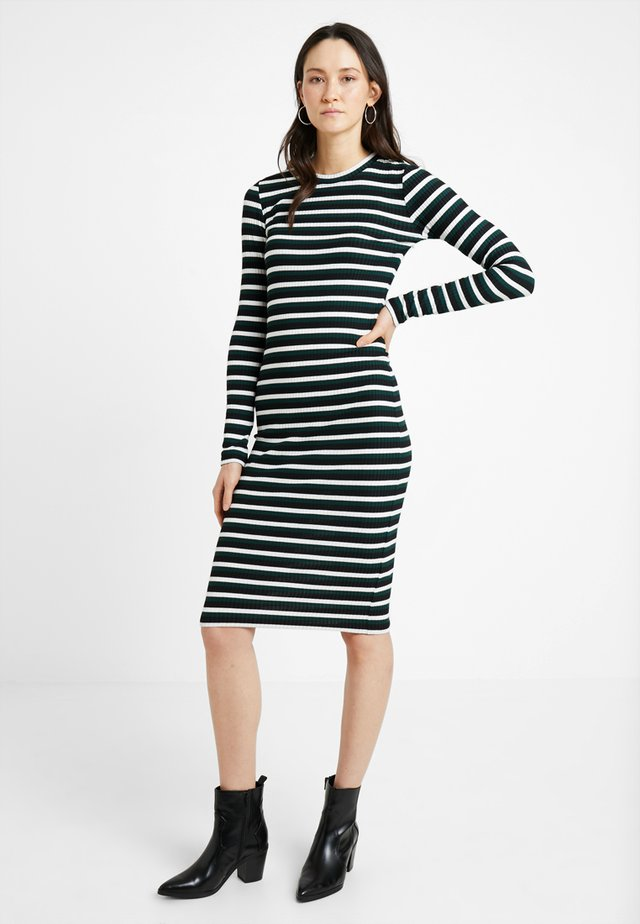 Shift dress - black/white/green
