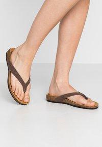 Scholl - TISTOIS - T-bar sandals - marron fonce - 0