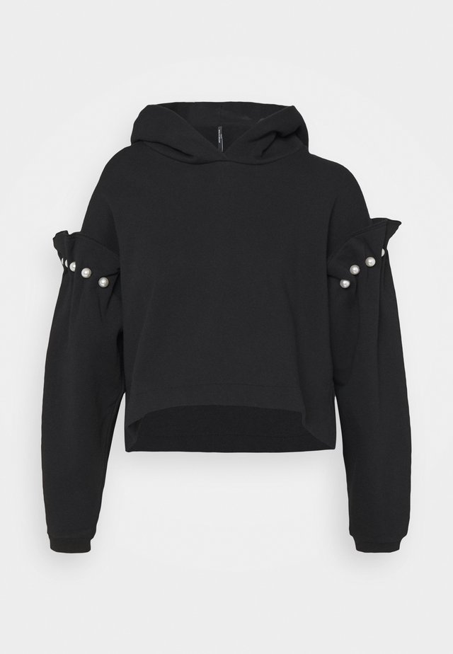 CROPPED JUMPER WITH PEARL SHOULDER - Sudadera - black