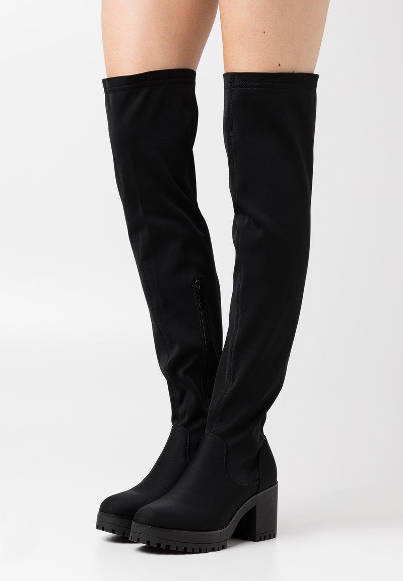 Missguided - CHUNKY BOOTS - Overknee laarzen - black