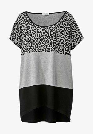 Print T-shirt - hellgrau/schwarz
