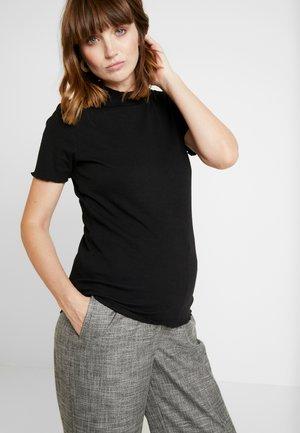 LETTUCE EDGE MOCK NECK SHORT SLEEVE  - Camiseta básica - black