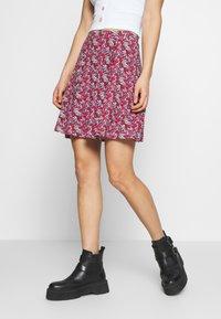 Even&Odd - 2 PACK - A-line skirt - black/red - 1