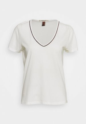 TEE WITH PIPING - Camiseta estampada - off white