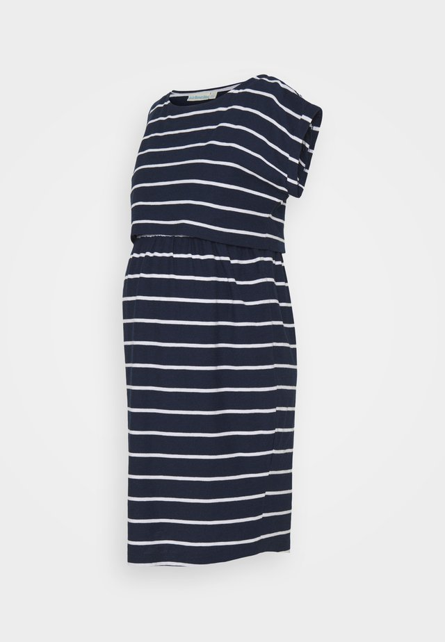 BRETON MATERNITY & NURSING TUNIC DRESS - Jerseyjurk - navy white stripe
