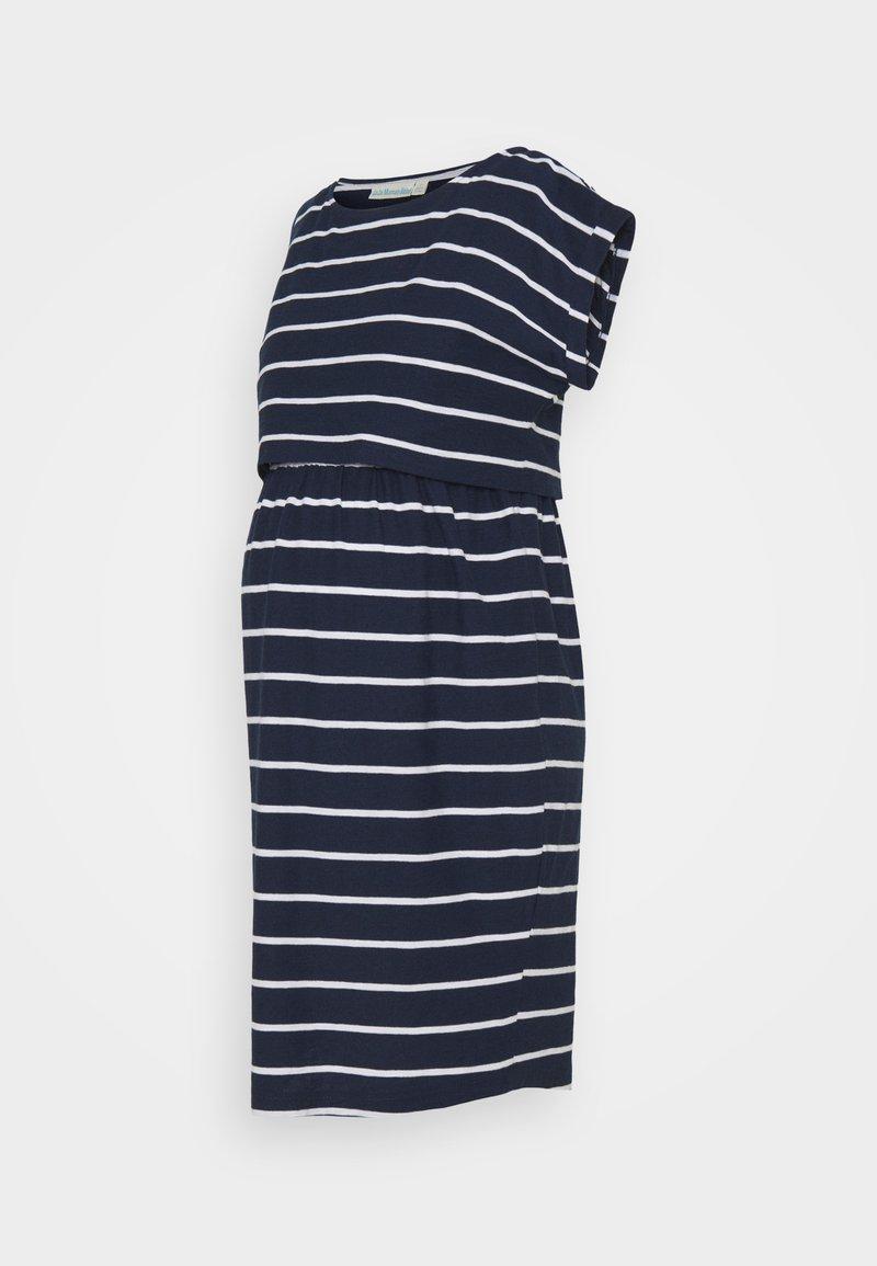 JoJo Maman Bébé - BRETON MATERNITY & NURSING TUNIC DRESS - Jersey dress - navy white stripe