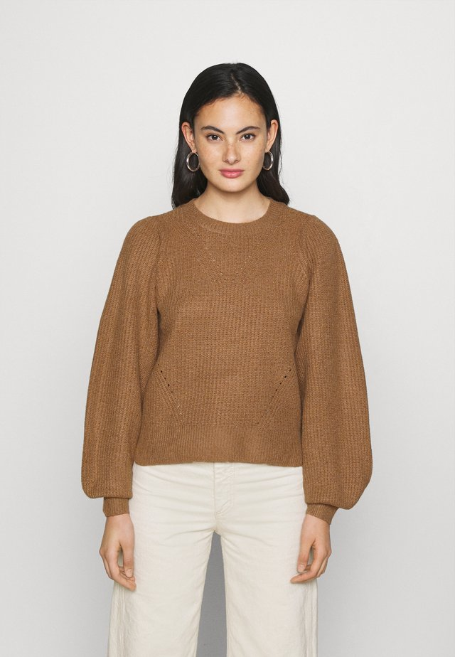 NMLUKE O NECK  - Sweter - toasted coconut