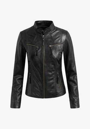 STACEY - Leather jacket - black