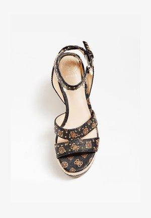 SANDALE COMPENSEE LATANYE LOGO - High heeled sandals - marron foncé