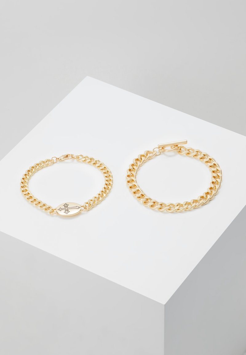 Topman - CROSS AND BAR 2PACK - Pulsera - gold-coloured
