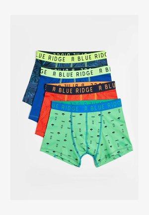 4 PACK - Pants - dark green, mottled orange, light blue