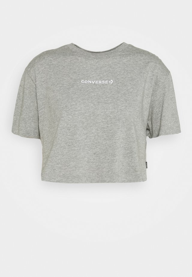 EMBROIDERED WORDMARK CROP TEE - Basic T-shirt - light grey