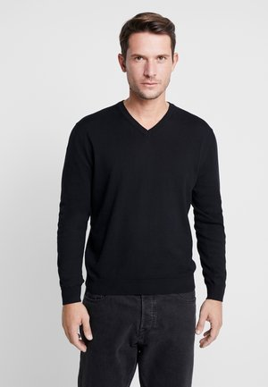V NECK - Jumper - black