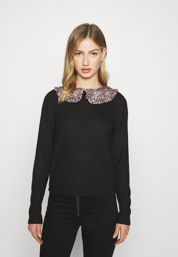 LEOPARD COLLAR PUFF SLEEVE