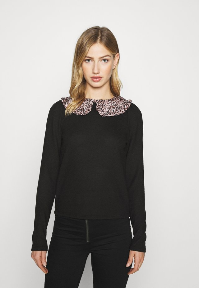 LEOPARD COLLAR PUFF SLEEVE - Sweter - black