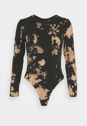 TIE DYE BODYSUIT - Long sleeved top - black/light brown